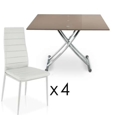 Carrera Taupe + 4 chaises Stratus Blanc