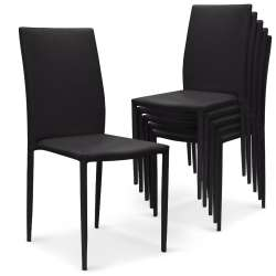 Lot de 6 chaises empilables Modan Simili (P.U) Noir