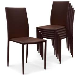 Lot de 6 chaises empilables Modan Simili (P.U) Marron