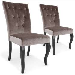 Lot de 2 chaises Beata velours Taupe
