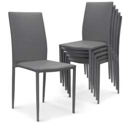 Lot de 6 chaises empilables Modan PU Gris