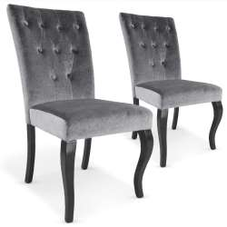 Lot de 2 chaises Beata velours Gris