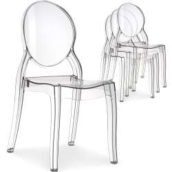 Lot de 4 chaises médaillon Diva Plexi Transparent