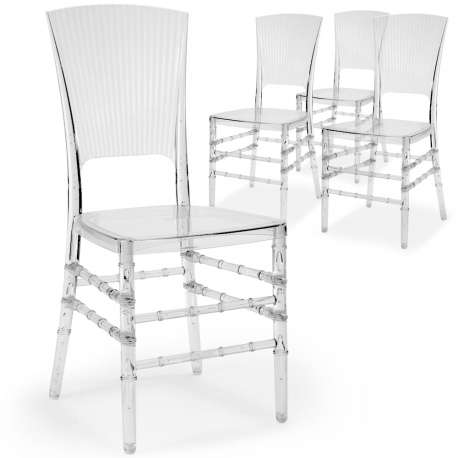 Lot de 4 chaises Hampton Plexi Transparent
