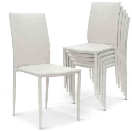 Lot de 6 chaises empilables Modan Simili (P.U) Blanc