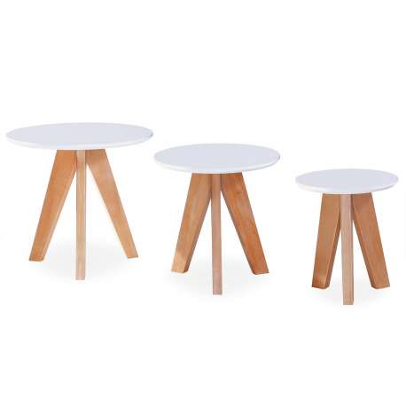 Ensemble De 3 Tables D Appoint Scandinave Elma Blanc