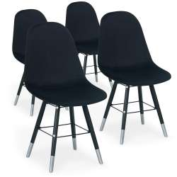 Lot de 4 chaises scandinaves Vlad Velours Noir
