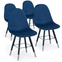 Lot de 4 chaises scandinaves Vlad Velours Bleu