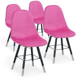 Lot de 4 chaises scandinaves Vlad Velours Rose