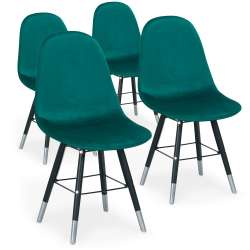 Lot de 4 chaises scandinaves Vlad Velours Vert