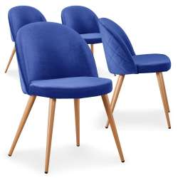 Lot de 4 chaises scandinaves Tartan velours Bleu