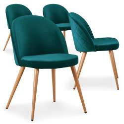 Lot de 4 chaises scandinaves Tartan velours Vert