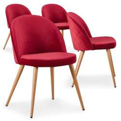 Lot de 4 chaises scandinaves Tartan velours Rouge