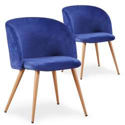 Lot de 2 chaises scandinaves Minima velours Bleu