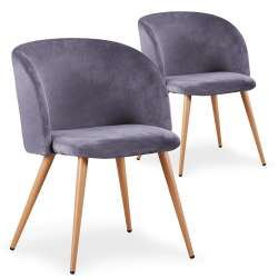 Lot de 2 chaises scandinaves Minima velours Gris