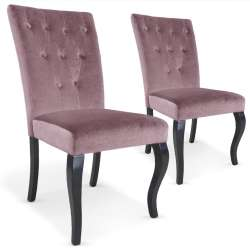 Lot de 2 chaises Beata Velours Rose