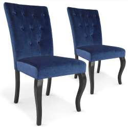 Lot de 2 chaises Beata Velours Bleu