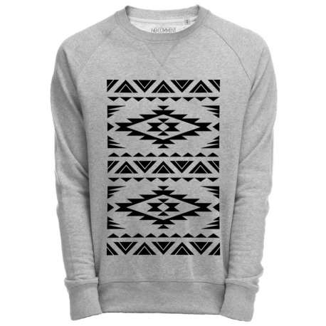 Sweat Shirt Gris imprimé native graphique design