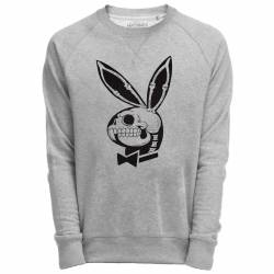 Sweat Shirt Gris imprimé playboy skull
