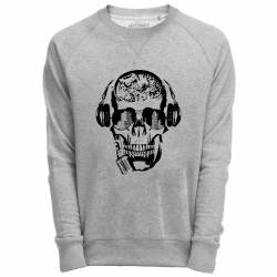 Sweat Shirt Gris imprimé Dj skull design